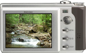 Ricoh's Caplio R8 digital camera. Courtesy of Ricoh, with modifications by Michael R. Tomkins. Click for a bigger picture!