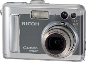 Ricoh's Caplio RR630 digital camera. Courtesy of Ricoh, with modifications by Michael R. Tomkins. Click for a bigger picture!