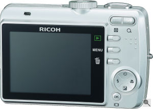 Ricoh's Caplio RR730 digital camera. Courtesy of Ricoh, with modifications by Michael R. Tomkins. Click for a bigger picture!