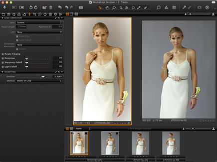 Capture One 5's new Creative Vignetting tool. Screenshot provided by Phase One A/S.
