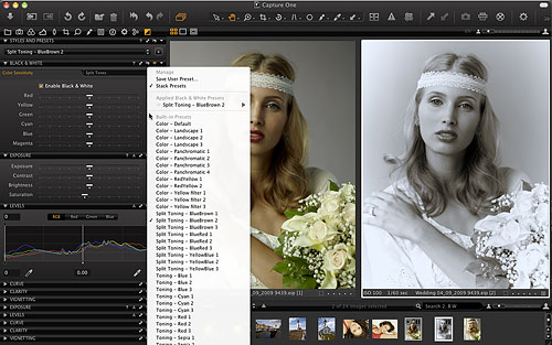 Capture One 6 now includes black and white conversion, with the ability to adjust color channels and create split toning effects. Screenshot provided by Phase One A/S. Click for a bigger picture!