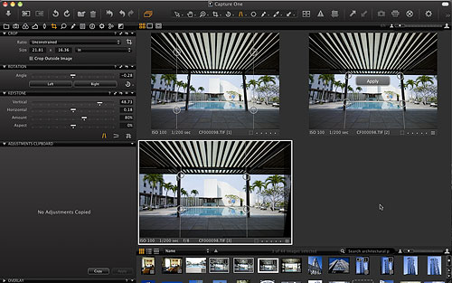 Another new feature of Capture One 6 is keystone correction, which fixes converging verticals such as you'd get when shooting a tall structure from ground level. Screenshot provided by Phase One A/S. Click for a bigger picture!