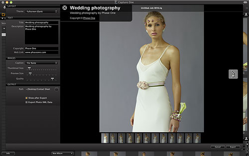 Laying out a web contact sheet in Capture One 6. Screenshot provided by Phase One A/S. Click for a bigger picture!
