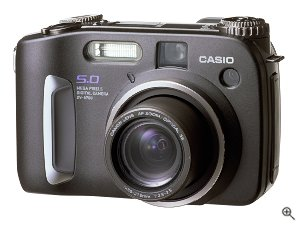 Casio's QV-5700 digital camera. Courtesy of Casio, with modifications by Michael R. Tomkins. Click for a bigger picture!