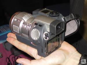 Sanyo's IDC-1000Z iDshot digital camera, shown with iD PHOTO disk bay open. Copyright (c) 2000, Michael R. Tomkins, all rights reserved. Click for a bigger picture!