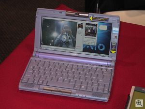 Sony's PictureBook C1VN notebook computer. Spot the News Editor caught by the 'Motion Eye' on the C1VN's screen! Copyright (c) 2000, Michael R. Tomkins, all rights reserved. Click for a bigger picture!