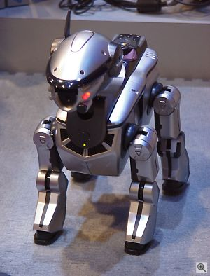 Sony's futuristic AIBO ERS-220. Copyright © 2001, Michael R. Tomkins. All rights reserved. Click for a bigger picture!