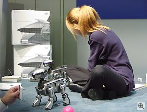 Sony rep demonstrates AIBO. Copyright © 2001, Michael R. Tomkins. All rights reserved. Click for a bigger picture!
