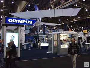 Olympus' booth. Copyright © 2001, Michael R. Tomkins. All rights reserved. Click for a bigger picture!
