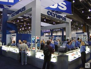 A section of the Olympus booth. Copyright © 2001, Michael R. Tomkins. All rights reserved. Click for a bigger picture!