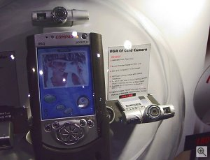 Both PDA CAMs along with a Compaq PocketPC. Copyright © 2001, Michael R. Tomkins. All rights reserved. Click for a bigger picture!