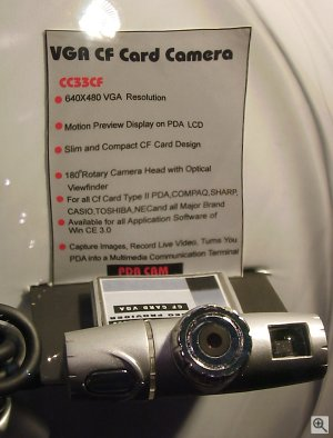 Closeup of the megapixel PDA CAM. Copyright © 2001, Michael R. Tomkins. All rights reserved. Click for a bigger picture!