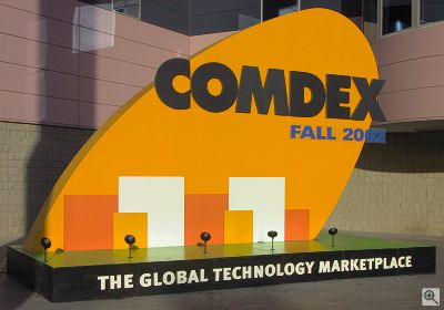 The Comdex Fall 2002 sign at the entrance to the Las Vegas Convention Center. Copyright © 2002, Michael R. Tomkins. All rights reserved. Click for a bigger picture!