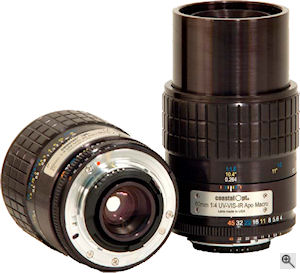 Coastal Optical Systems' CoastalOpt 60mm UV-VIS-IR 1:4 Apo Macro lens. Courtesy of Coastal Optical Systems, with modifications by Michael R. Tomkins. Click for a bigger picture!