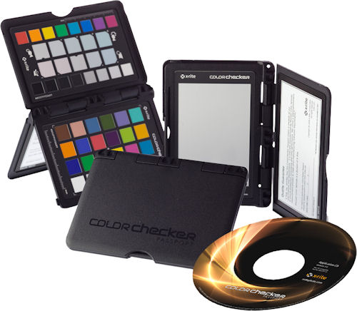 Several X-Rite ColorChecker Passports shown along with the bundled software CD. Photo provided by X-Rite. Click for a bigger picture!