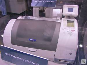 Epson's Colorio PM-790PT photo printer, front view. Copyright (c) 2001, Michael R. Tomkins, all rights reserved. Click for a bigger picture!