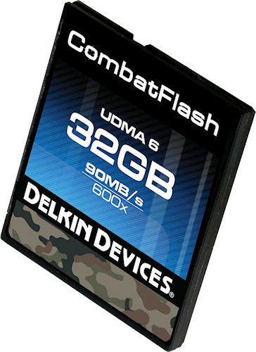 A 32GB CombatFlash ruggedized CompactFlash card. Photo provided by Delkin Devices Inc. Click for a bigger picture!