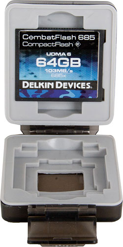 Delkin's CombatFlash 685 range is available in capacities from 8 to 64GB. Photo provided by Delkin Devices Inc. Click for a bigger picture!