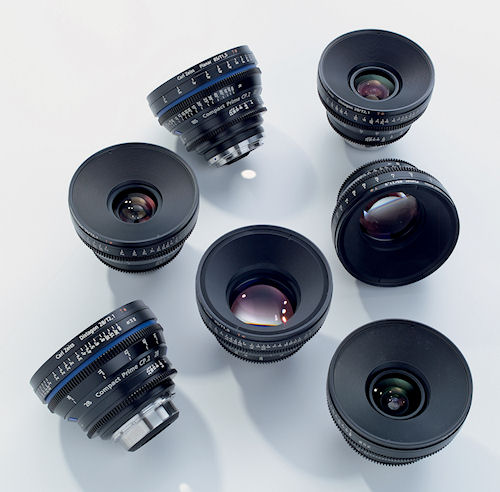 An assortment of Compact Prime CP.2 lenses. Photo provided by Carl Zeiss AG. Click for a bigger picture!