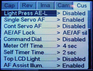 Menus on the Kodak DCS Pro 14n LCD display. Photo copyright © 2002, The Imaging Resource. All rights reserved.