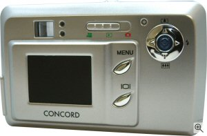 Concord's Eye-Q 3341z digital camera. Courtesy of Concord Camera Corp., with modifications by Michael R. Tomkins. Click for a bigger picture!