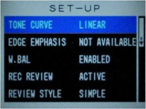 Contax's N Digital SLR digital camera setup menu. Copyright © 2002, Michael R. Tomkins. All rights reserved.
