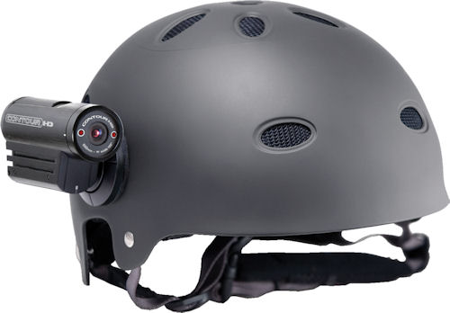 VholdR Contour HD wearable camcorder, shown helmet-mounted. Photo provided by Twenty20 LLC. Click for a bigger picture!