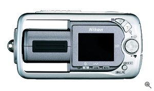 Nikon's Coolpix 3500 digital camera. Courtesy of Nikon, with modifications by Michael R. Tomkins. Click for a bigger picture!