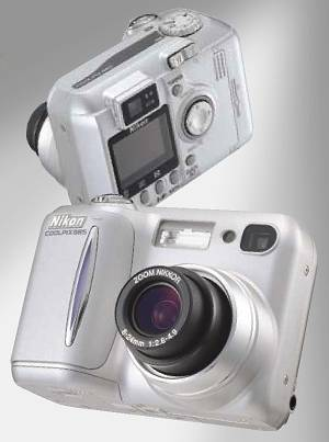 Nikon's Coolpix 885 digital camera. Courtesy of Nikon with modifications by Michael R. Tomkins.