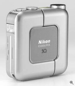 Nikon's Coolpix SQ digital camera. Courtesy of Nikon, with modifications by Michael R. Tomkins. Click for a bigger picture!