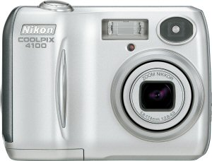 Nikon's Coolpix 4100 digital camera. Courtesy of Nikon, with modifications by Michael R. Tomkins. Click for a bigger picture!