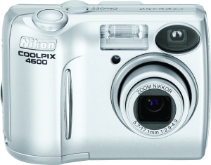 Nikon's Coolpix 4600 digital camera. Courtesy of Nikon, with modifications by Michael R. Tomkins. Click for a bigger picture!