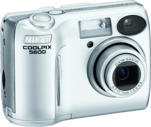 Nikon's Coolpix 5600 digital camera. Courtesy of Nikon, with modifications by Michael R. Tomkins. Click for a bigger picture!