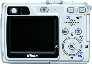 Nikon's Coolpix 5900 digital camera. Courtesy of Nikon, with modifications by Michael R. Tomkins. Click for a bigger picture!