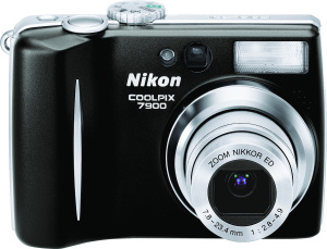 Nikon's Coolpix 7900 digital camera. Courtesy of Nikon, with modifications by Michael R. Tomkins. Click for a bigger picture!