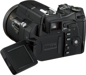 Nikon's Coolpix 8800 digital camera. Courtesy of Nikon, with modifications by Michael R. Tomkins. Click for a bigger picture!