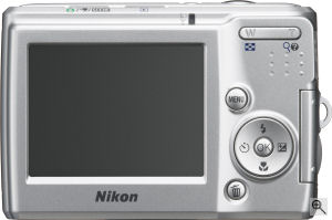 Nikon's Coolpix L14 digital camera. Courtesy of Nikon, with modifications by Michael R. Tomkins. Click for a bigger picture!
