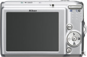 Nikon's Coolpix L15 digital camera. Courtesy of Nikon, with modifications by Michael R. Tomkins. Click for a bigger picture!