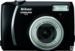 Nikon's Coolpix L1 digital camera. Courtesy of Nikon, with modifications by Michael R. Tomkins. Click for a bigger picture!