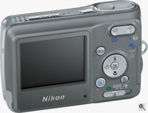 Nikon's Coolpix L2 digital camera. Courtesy of Nikon, with modifications by Michael R. Tomkins. Click for a bigger picture!