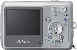 Nikon's Coolpix L3 digital camera. Courtesy of Nikon, with modifications by Michael R. Tomkins. Click for a bigger picture!