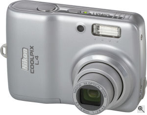 Nikon's Coolpix L4 digital camera. Courtesy of Nikon, with modifications by Michael R. Tomkins. Click for a bigger picture!