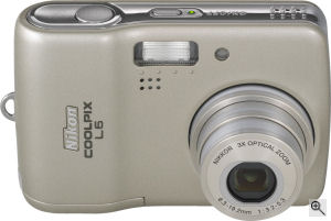 Nikon's Coolpix L5 digital camera. Courtesy of Nikon, with modifications by Michael R. Tomkins. Click for a bigger picture!