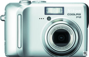 Nikon's Coolpix P2 digital camera. Courtesy of Nikon, with modifications by Michael R. Tomkins. Click for a bigger picture!