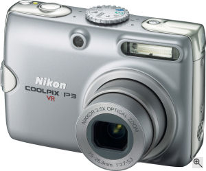 Nikon's Coolpix P3 digital camera. Courtesy of Nikon, with modifications by Michael R. Tomkins. Click for a bigger picture!