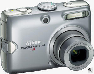 Nikon's Coolpix P4 digital camera. Courtesy of Nikon, with modifications by Michael R. Tomkins. Click for a bigger picture!