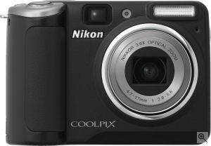 Nikon's Coolpix P50 digital camera. Courtesy of Nikon, with modifications by Michael R. Tomkins. Click for a bigger picture!