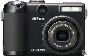 Nikon's Coolpix P5100 digital camera. Courtesy of Nikon, with modifications by Michael R. Tomkins. Click for a bigger picture!
