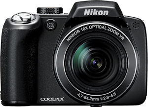 Nikon's Coolpix P80 digital camera. Courtesy of Nikon, with modifications by Michael R. Tomkins. Click for a bigger picture!
