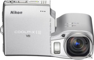 Nikon's Coolpix S10 digital camera. Courtesy of Nikon, with modifications by Michael R. Tomkins. Click for a bigger picture!